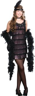 Teen 1920's gangster Flapper Black Dress in Twenties Halloween Costume Style